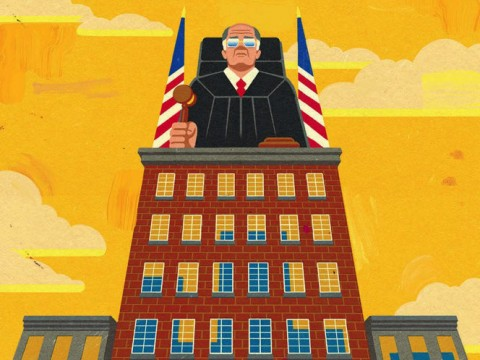 A judge presides over an urban landscape from atop a tall building