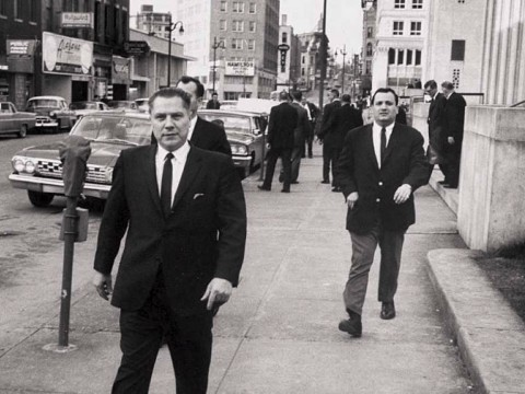 Photograph of Jimmy Hoffa and Chuckie O'Brien near the federal courthouse, March 1, 1964