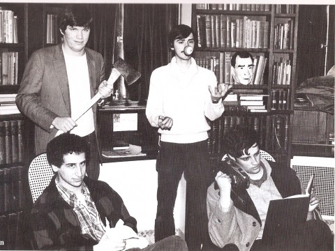 A 1981 photograph taken in the Lampoon Castle shows <i>Simpsons</i> stalwarts Mike Reiss '81 (seated left) and Al Jean '81 (holding an iron). Patric Verrone '81, who juggles pool balls behind them, is also a successful TV comedy writer with <i>Simpsons</i> credits. Holding the axe is the late Ted Phillips '81, who became a lawyer in South Carolina and passed away in 2005. He has a character (Duke Phillips) named after him in <i>The Critic,</i> an animated series created by Jean and Reiss.
