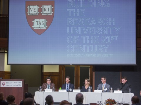 "Moderated by Harvard Law School's Jonathan L. Zittrain (left), planners and designers discussed the ""digital campus."" In the twenty-first century, said John Palfrey '94, J.D. '11 (second from left), head of school at Phillips Academy, Andover, ""the green fields we build on will be in cyberspace."""
