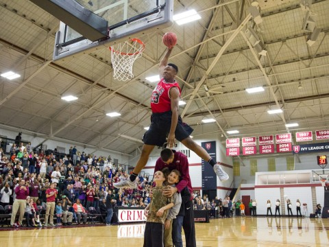 Zena Edosomwan '17, soaring over teammate Balsa Dragovic '19 and two fans to win the dunk contest at Crimson Madness, will be the team's primary threat in the post.