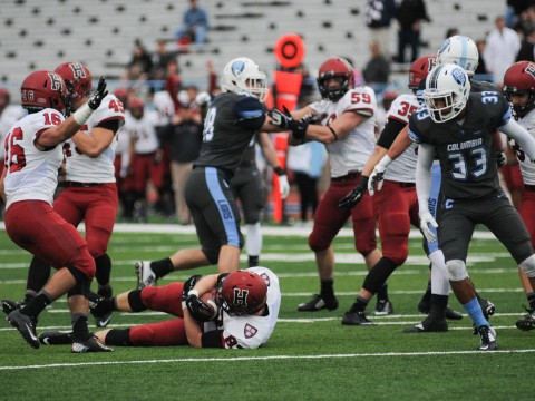 Crimson ball! Harvard sophomore Jack Stansell pounced on a fumbled punt at the Columbia 13. The turnover set up a 40-yard field goal by sophomore Kenny Smart.