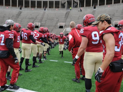 Senior Day: Sean Ahern (6) and other members of the class of 2016 were honored before their final Harvard Stadium game. There also was a moment of silence to commemorate the victims of Friday's terrorist attacks in Paris.