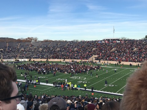 A large group of protestors standing on a football field.