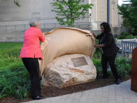 Then-Harvard president Drew Faust and Harvard Law School professor Annette Gordon-Reed unveiled a monument dedicated in 2017 to people enslaved by law school benefactor Isaac Royall Jr.