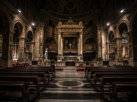 The inside of a catholic church