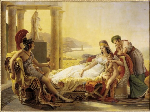 Aeneas, future founder of Rome, rouses the sympathies of Dido, queen of Carthage, with the tale of the destruction of his home city, Troy.