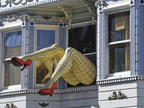 See you. A much-admired pair of legs and shoes disappear into a window above the shops on Haight Street, San Francisco. The Reichardts have seen it all.
