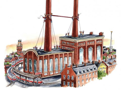 "A drawing showing a large crossbar being hauled into place between two tall smokestacks to make a giant ""H"" for ""Harvard"""