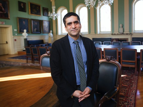 Rakesh Khurana, Dean of Harvard College, photographed in the Faculty of Arts and Sciences' Faculty Room