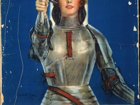 "This 1918 ""Joan of Arc"" poster marketed  savings stamps that could ultimately be  exchanged for a war bond."