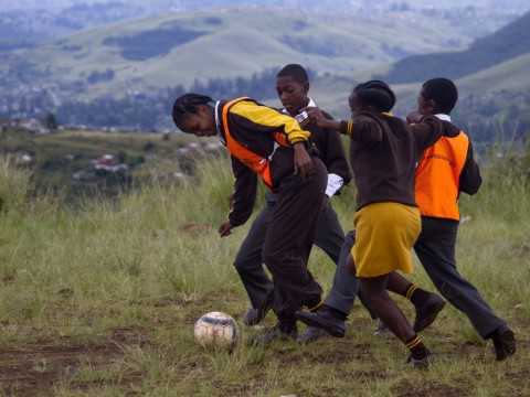Students at Fezokuhle Primary School in Pietermaritzburg, South Africa, get outside for a soccer break—and a lesson about gender roles.